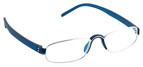 Pachleitner Modische Metall Lesehilfe mit Schließblock inklusive Etui, blau / +2.5 Dioptrien,