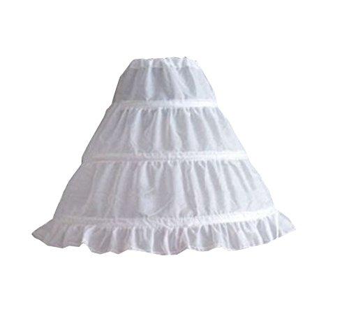 Carolilly Mädchen Reifrock 3 Ringe Unterrock Weiß Ballkleid Blumenmädchen Kleid Brautkleid Hochzeit Zubehör Petticoat (One Size, Weiß)