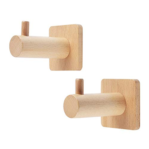 Natürlichem Leinen-finish (【2 Stück】 QYHOME Kleiderhaken Holz Natürliche Wand montiert Kleidung Schal Hut Tasche Lagerung Kleiderbügel Handtuchhalter Schlafzimmer Dekoration Pflöcke)