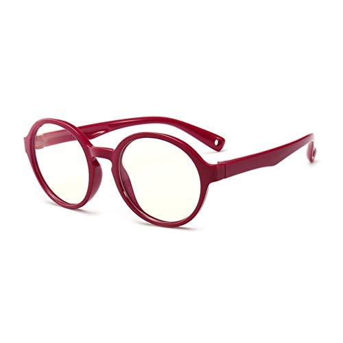 fangcheng Anti Blaulicht Brillengestell | Kinderbrillen + Brillenetui | Transparente Linse, Kinder Retro Lesebrillen für Mädchen Jungen - F18083008