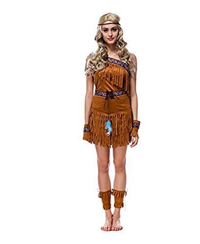 (Manfis Indianerin Kostüm Damen Indianer Kostüm Halloween Fasching mit Zubehör, American Wilder Westen Nationalkostüm Kostüm Kleid Outfit - Braun)