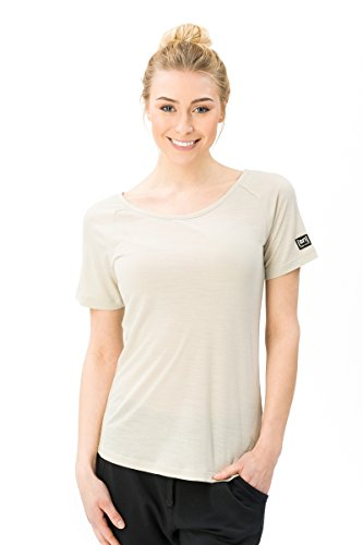 Super. Natural W Essential Scoop Neck Femme en Laine Mérinos col Rond T-Shirt L Light Sand