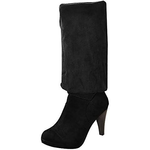 ZEARO Mujer Botas Otono Invierno Botines Hasta La Rodilla Tacón Alto Zapatos Calentar Botas de Nieve Calzado