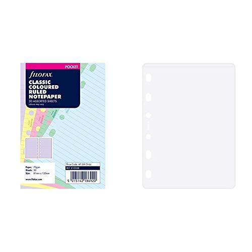 Filofax 210508 Pocket Notizpapier Classic, liniert, farbig sortiert & 213612 Pocket Klarsichthülle, oben offen -