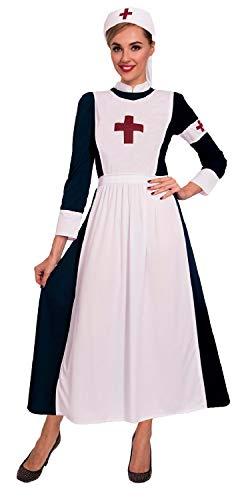 Kostüm Krankenschwester Viktorianischen - Fancy Me Damen-Kostüm, Vintage-Stil, Viktorianischer Stil, Krankenschwester, Nachtigall, Kostüm, Outfit, UK-Größe 36-46