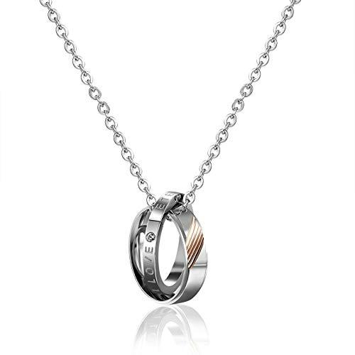 Bishilin Damen Halskette Anhänger Edelstahl Verriegelungsringe mit Gravur Eternal Love Zirkonia Silber Kette Freundschaftsketten für 1
