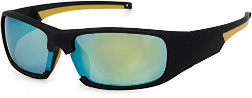 styleBREAKER Sport Sonnenbrille verspiegelt oder getönt, Vollrand Sportbrille mit weichen Nasenbügeln, Unisex 09020047, Farbe:Gestell Schwarz-Gelb/Glas Gelb verspiegelt