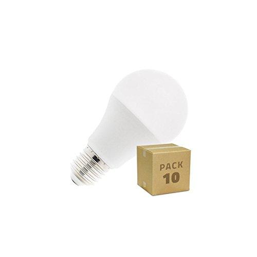 Pack 10 Bombillas LED E27 A60 10W Blanco Frío 6000k-6500K efectoLED