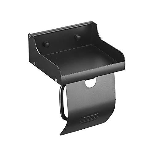 M-CZJ Raum Aluminium Papierhandtuchhalter Bohren/Ohne Bohren Doppelnutzung mit Abdeckung und Handyablage Regal Tissue Box Toilettenpapierhalter (Farbe : SCHWARZ)
