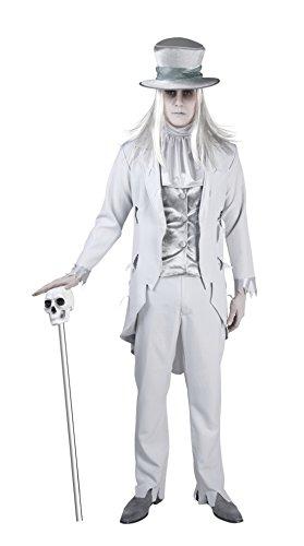 Fancy Ole - Herren Männer Geister Bräutigam, Kostüm, Halloween, Weiß, Größe (Der Mann Kostüm Blasse)
