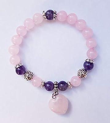 Bracelet améthyste, coeur quartz rose, ancrage d'amour