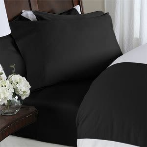 Twin XL Extra Long 600 Thread Count Egyptian Cotton 600TC Solid DUVET Cover Set, Black by Egyptian Cotton Factory Outlet Store (Solid-600-thread)