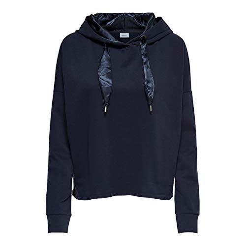 ONLY Damen Kapuzenpullover onlfROSEMARY Short L/S Hood SWT Blau Total Eclipse, 38 (Herstellergröße:M)