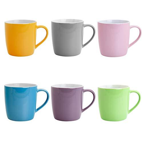 Argon Tableware Tee- / Kaffeetassen - 340ml - Blau/Rosa/Grün/Purpur/Grau/Gelb - Set aus 6