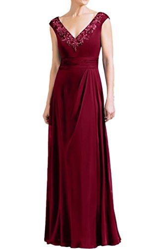 Promgirl House Damen 2017 Elegant Chiffon A-Linie Brautmutterkleider Abendkleider Ballkleider Lang Weinrot
