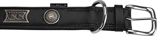 Knuffelwuff 13966-004 Lederhalsband Hund Hundehalsband Hamilton, L, 36 – 45 cm, schwarz - 3