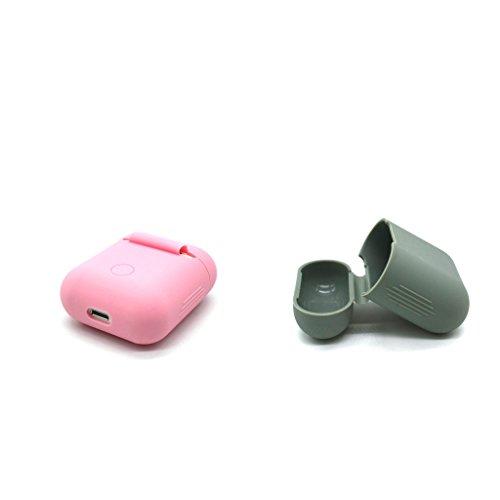 IPOTCH 2pcs Tragbar Flexible Wrap-Around-Design, Weiche Gummi Shockproof Case Schutzhülle Hülle für AirPods (Rosa + Grau) -