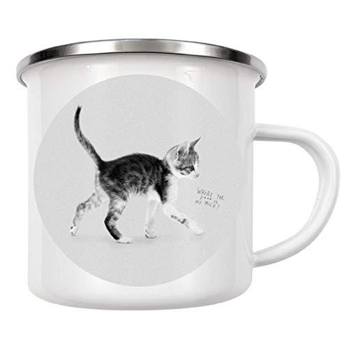 artboxONE Emaille Tasse Katzenmilch von Doozal Collective - Emaille Becher Für Kinder - Md Milch