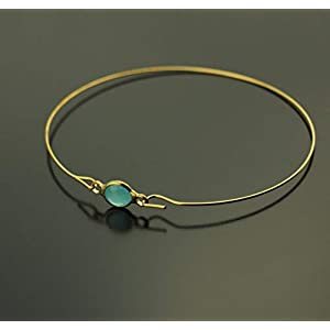 Armreifen Glas Stein türkis blau facettiert Armband golden Juvelato