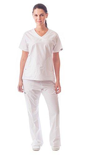 Women's 6 Pocket Flare Leg Medical Scrubs White / - White Scrub-jacke