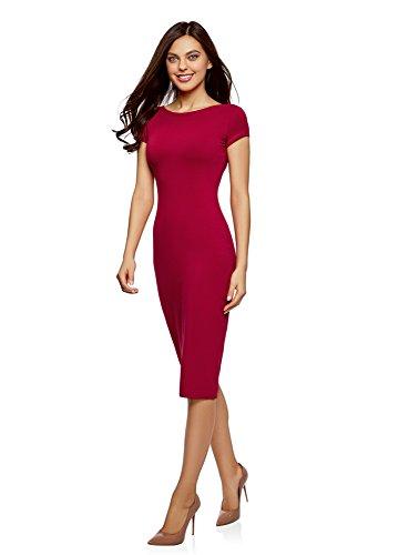oodji Collection Damen Midi-Kleid mit Ausschnitt am Rücken Rot (4901N)