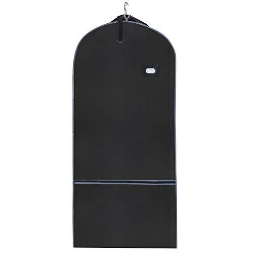 Travel Coat Garment Bag - Lightweight Foldable - Storage ID Card Pocket - loop N Carry Handle - Strap to Hold Hangers Together - Large Front Pocket - 54 x 5 x 24 - Black