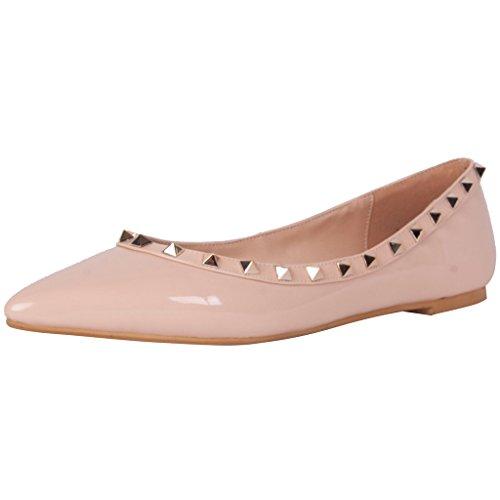 Calaier Femme Cateach Luxe Designer Filles Mode Party Dancing Rivet Studded Point Toe Chaussures Plates Mocassins 0.5CM Plat Glisser Sur Ballerines Rose