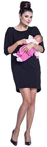 Zeta Ville - Maternité Robe sweat-shirt de grossesse allaitement - femme - 038c Noir