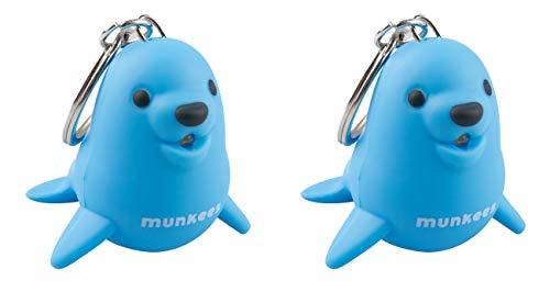munkees 2X Schlüsselanhänger mit Led Licht, Tier-Motiv Seelöwe Fun Gadget, blau, 11229 -