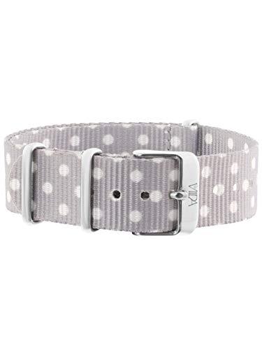 laVIIDA Uhrband LB-SIB1706S Ersatzband Uhrband Stoff 18 mm Grau-Weiß-Silber