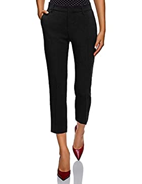 oodji Collection Donna Pantaloni Slim Fit a Vita Media