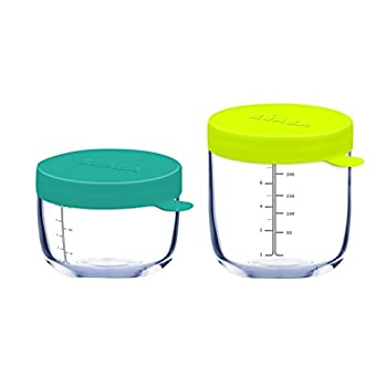 BÉABA Lot 2 Pots de Conservation en Verre Bleu 150 ml/Néon 250 ml