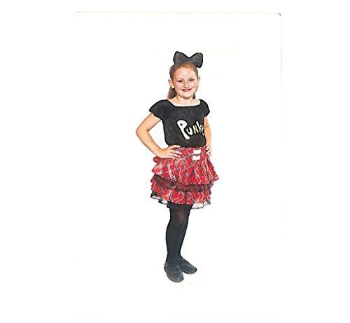 erkostüm Punky, Rock im Schottenmuster und passendes Oberteil, rot-schwarz (Punk Rock Girl Kostüme)