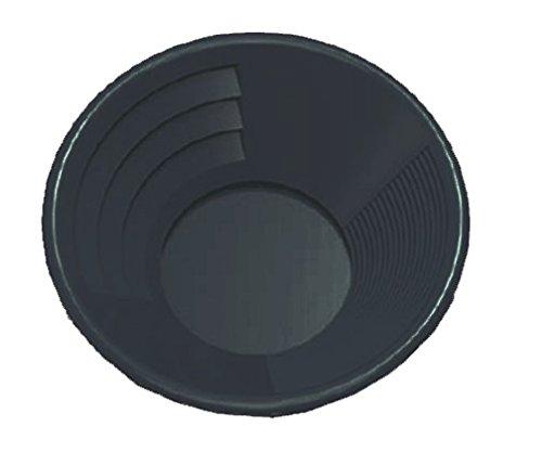 Pan Prospection, Batee Orpaillage,30cm, Plastique noir,rainures grossières et fines