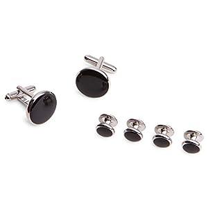 KNÖPFBAR 1 Paar klassisch, Business Herren Frackknöpfe/Cufflinks, rund, 2 Manschettenknöpfe und 4 Frackknöpfe mit schwarzem Stein – für jeden Anlass