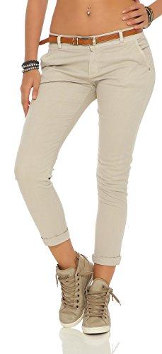 ZARMEXX Damen Stretch Röhrenhose mit Gürtel Chino Skinny Stoffhose Jeggings, Beige, Gr. XL (42)