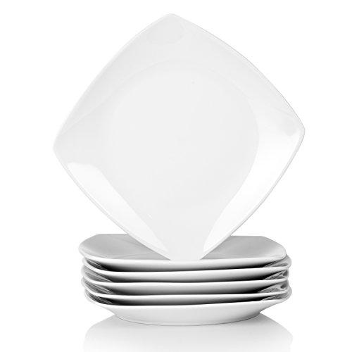 Malacasa JULIA 6pcs Assiettes à Dessert Gâteau 17cm Vaisselles Porcelaine Petite Assiette Carrée à Salade Snacks Mise en Bouche Céramique Blanc Ivoire
