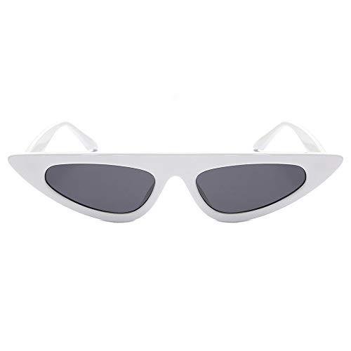FERZA Home Damenmode Unisex Cat Eye Shapes Sonnenbrillen Integrierte UV-Gläser zum Fahren im Freien Kostüm Party Brillen (Color : White)