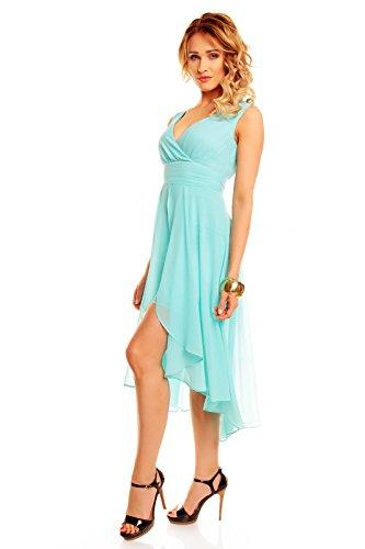 Robe de cocktail pour femme en chiffon courte à l'avant à l'arrière) Bleu - Aqua