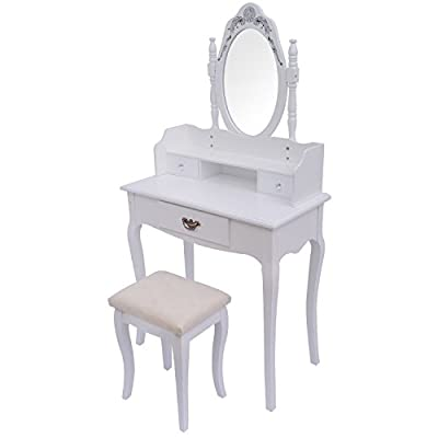 CLEARANCE Homcom Dressing Table with Stool Mirror Elegant White Make-up Hair Nail Drawers Bedroom Desk NEW - low-cost UK light store.