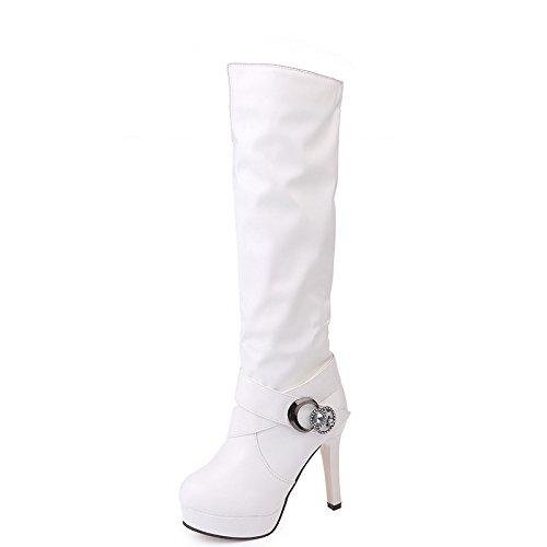 Khskx-tacón Botas De Tacón Alto Tacón Alto Taladro De Agua Hebilla Cinturón Botas De Moda Mujer Blanco