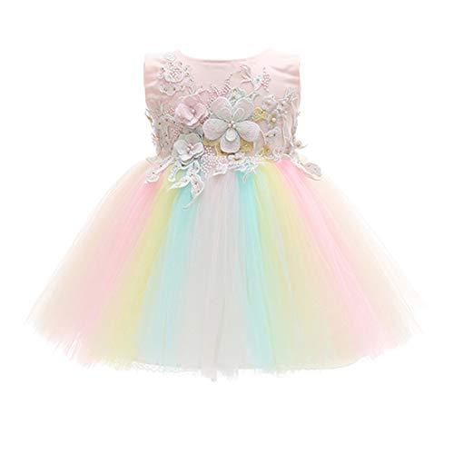 TAAMBAB Babykleid Taufkleid Festlich Kleid Ärmellos Bestickt Blumenmädchenkleid Spitze Tütü Prinzessin Kleid - Baby Mädchen Hochzeit Partykleid Festzug Abendkleid