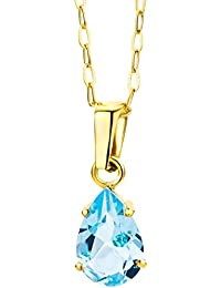 Miore - MA9023N - Collier Femme - Or jaune 375/1000 (9 carats) 1.41 gr - Topaze bleue - 45 cm