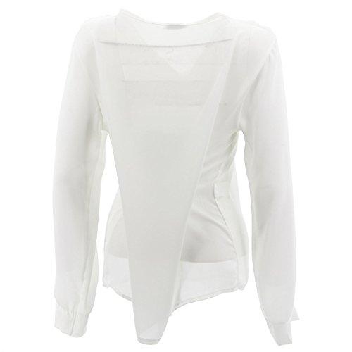 Frauen-Chiffon- Shirt T-Shirt Blusen V-Shirt mit Langen Ärmeln Elegante Neuen Weiß