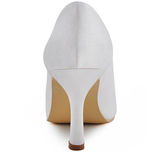 Elegantpark EP11017 Simplement Bout Ouvert Satin Femmes Aiguille Soiree Chaussures de Mariee Mariage Blanc