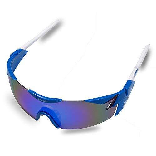 BRZSACR Sport-Sonnenbrille mit austauschbaren Lenes für Männer Frauen Radfahren Laufen Fahren Angeln Golf Baseball Brillen (3-Farben-Wechselobjektiv) (Blau)