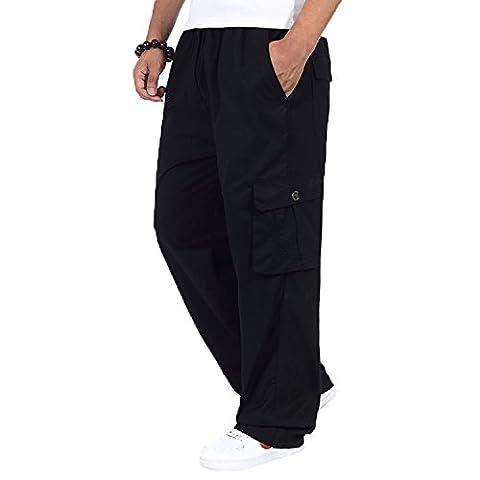 Men's Cotton Cargo Elastic High Waist Loose-Fit Leisure Pant black 4XL