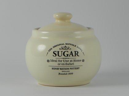 Charlotte Watson Ceramic Sugar Bowl With Lid In Buttermilk Glaze Bm234
