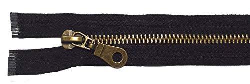 Reißverschluß Metall teilbar für Jacken 65 cm schwarz antik