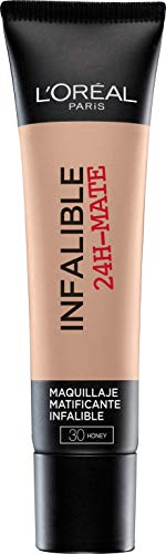 L\'Oréal Paris Mate 24H Base maquillaje matificante larga duración tono de piel medio 30 miel- 35 ml
